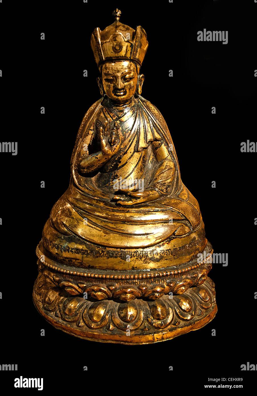 Padmasambhava 1695  Nepal Samvat copper brass Nepalese - Stock Image
