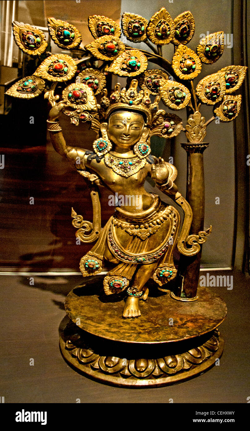 Queen Maya Devi giving birth to future Buddha gilded gold 18th century AD Nepal Nepalese - Stock Image