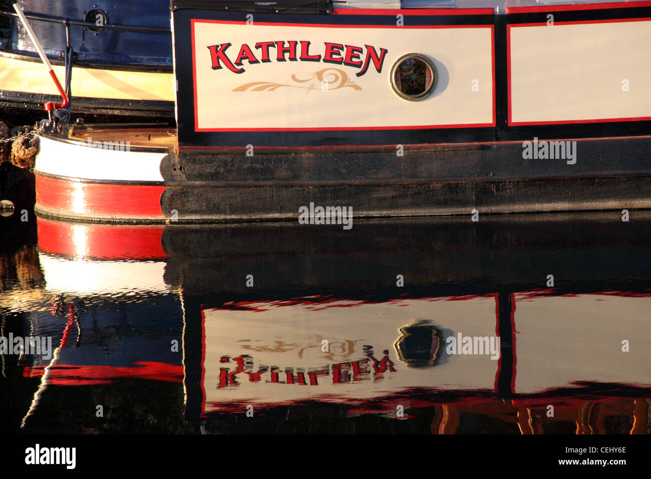 Narrowboat Kathleen in the River Avon, near Bidford on Avon. - Stock Image