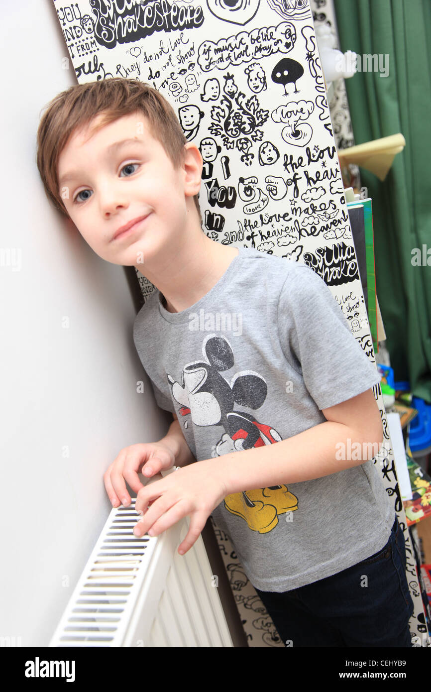 6 Year Old Boy In The Naughty Corner Stock Photo 43420589
