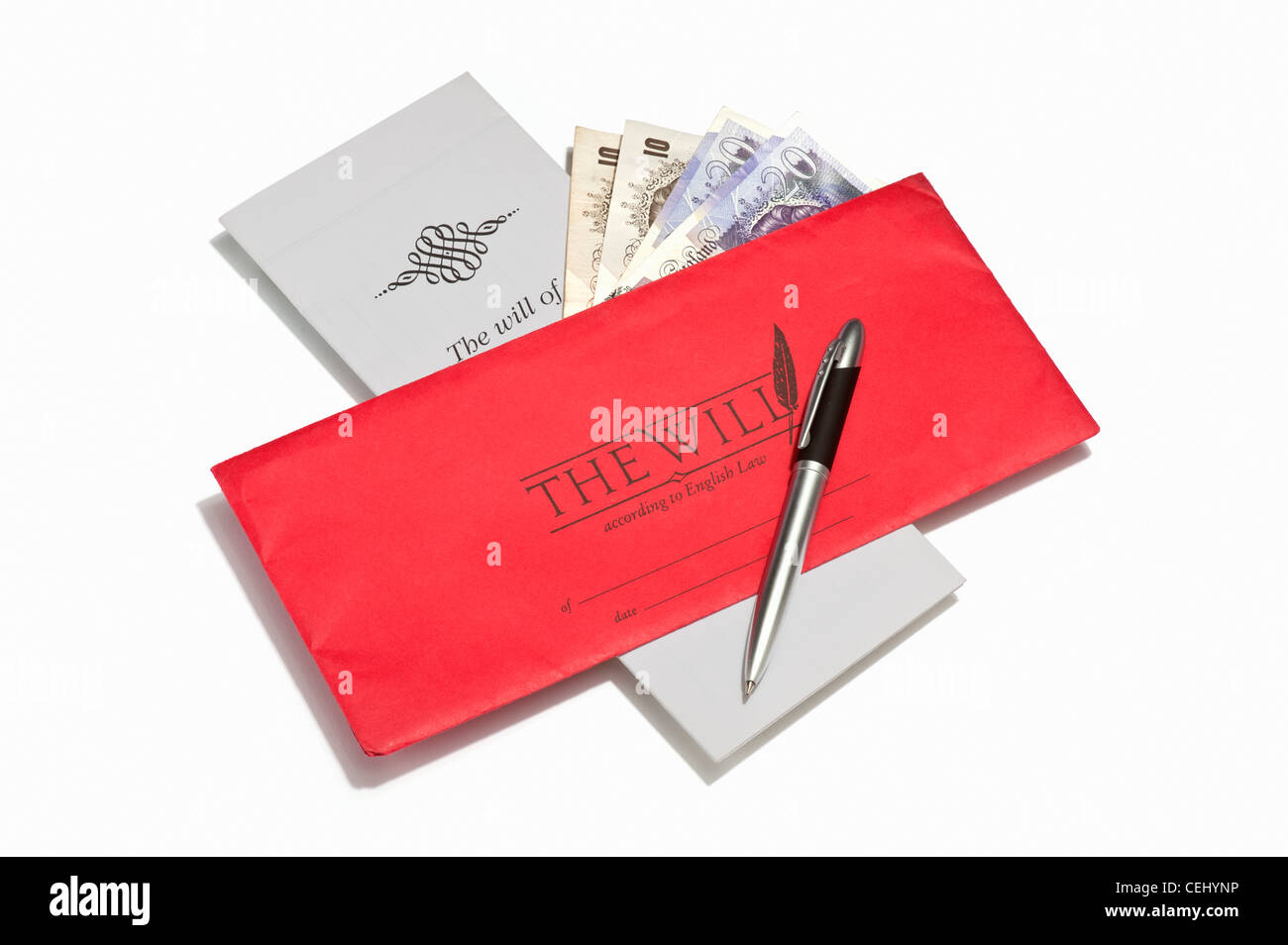 A will document, a pen and British banknotes - Stock Image