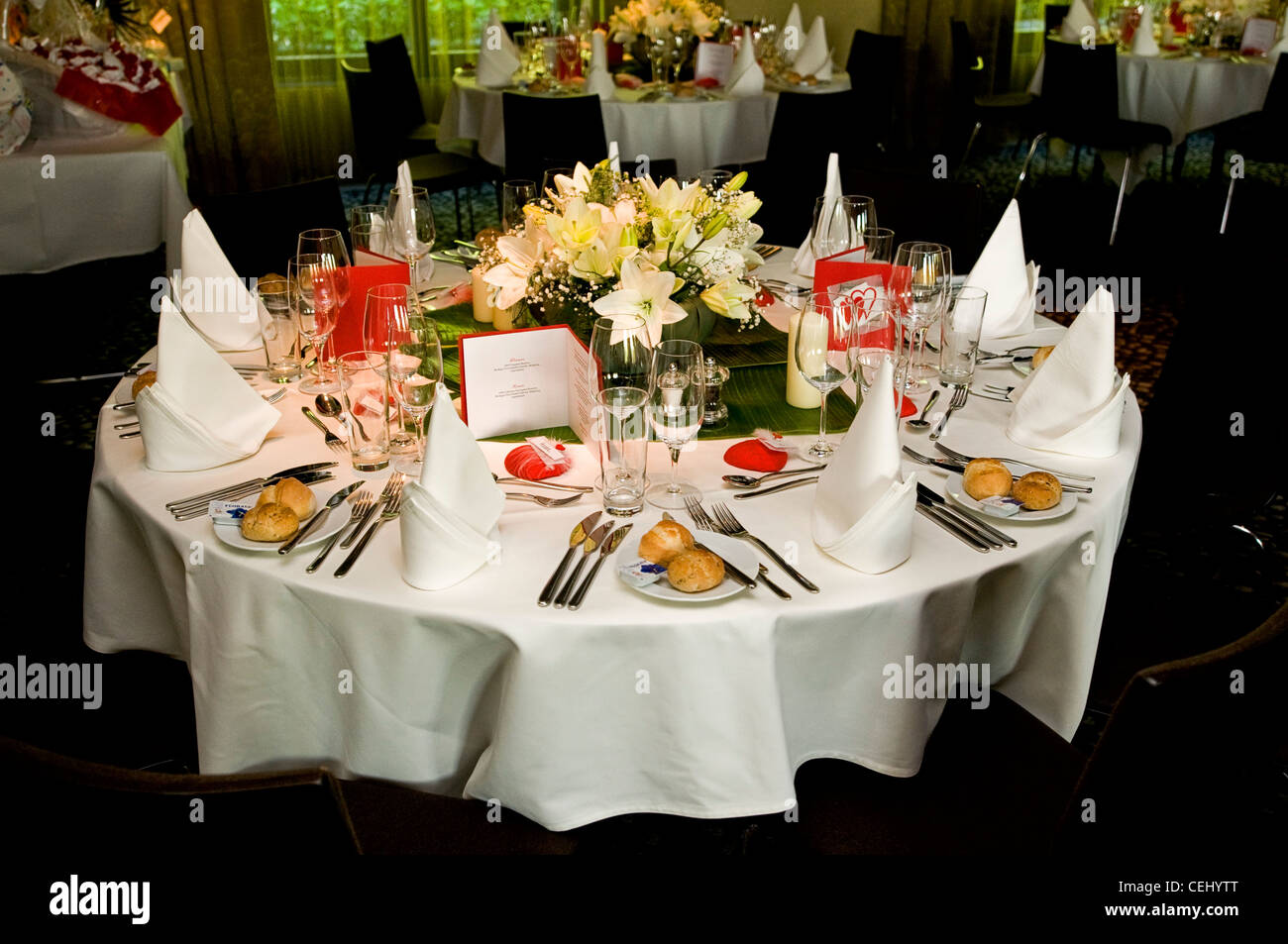 laid table at a wedding ceremony - Stock Image