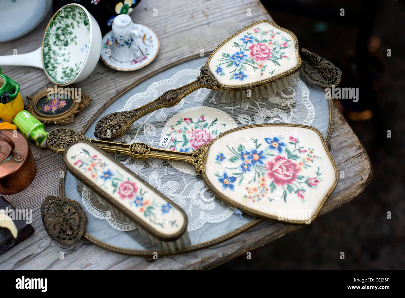 Antique hairbrushes, Ardingly antiques fair, West Sussex, England, UK - Stock Image