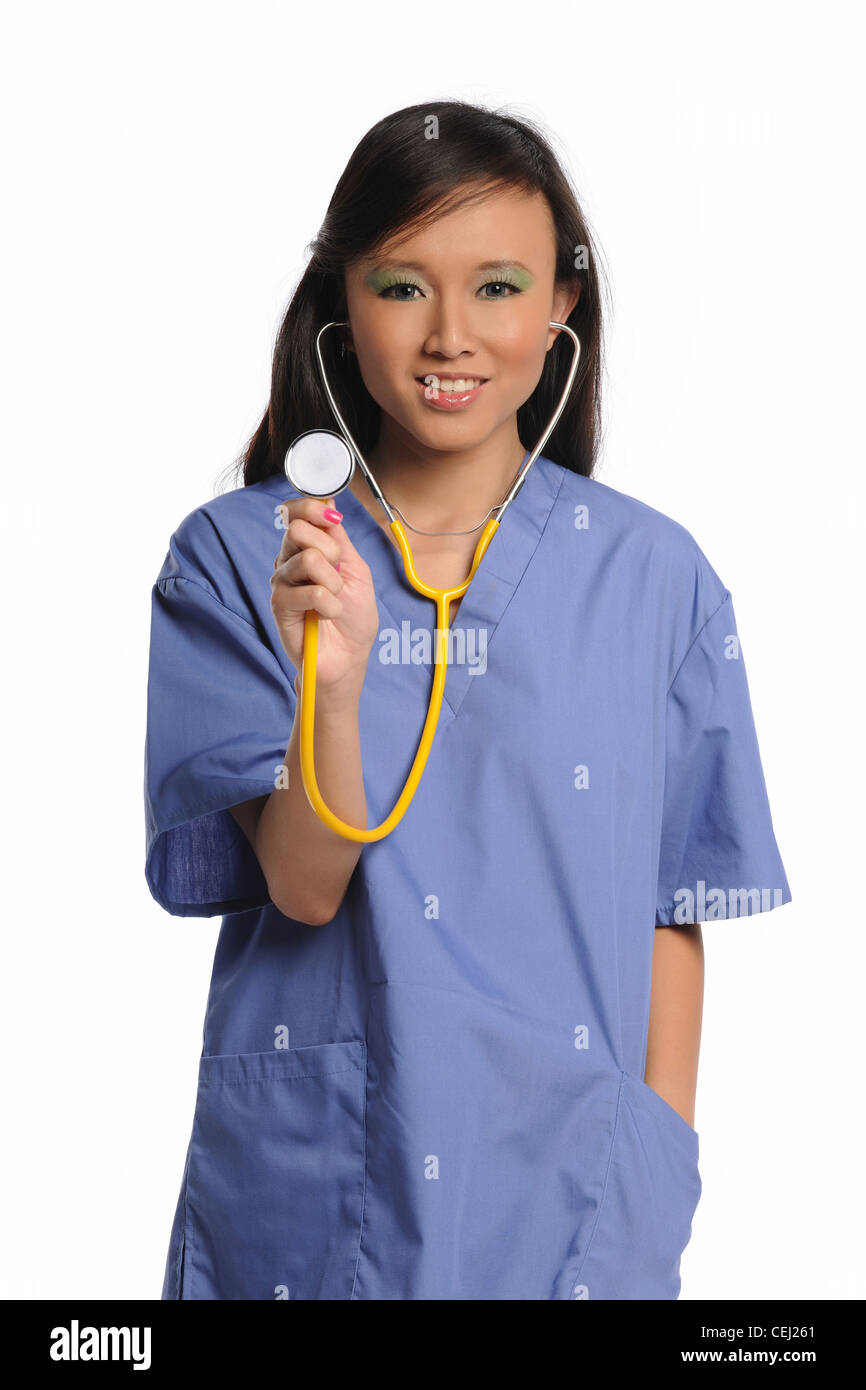 Young Asian Doctor with Stethoscope isolated on a white background - Stock Image
