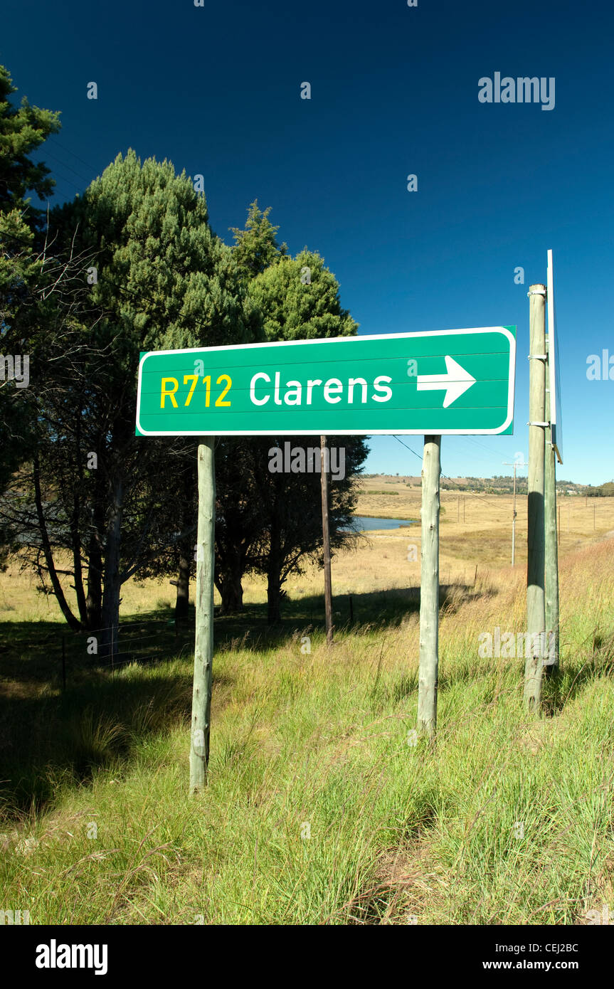 Clarens Road Sign,Eastern Free State Province - Stock Image
