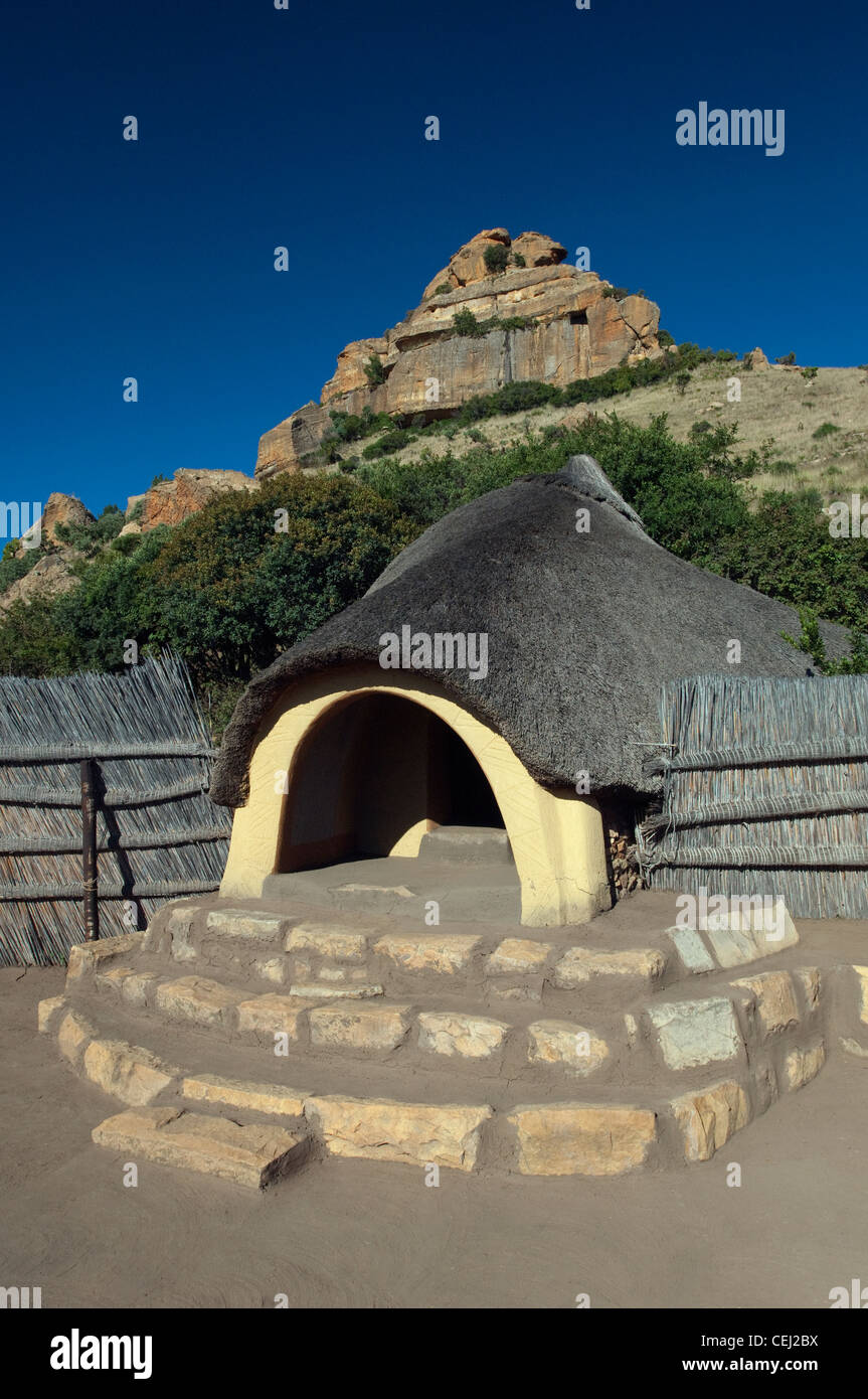 Basotho hut,Basotho Cultural Village,Eastern Free State Province Stock Photo