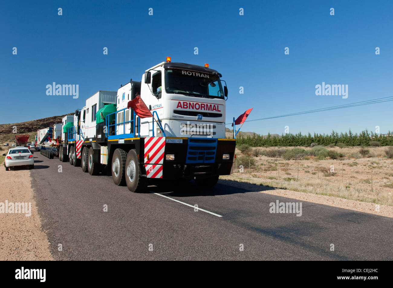 Truck bearing abnormal load on Road,Northern Cape - Stock Image
