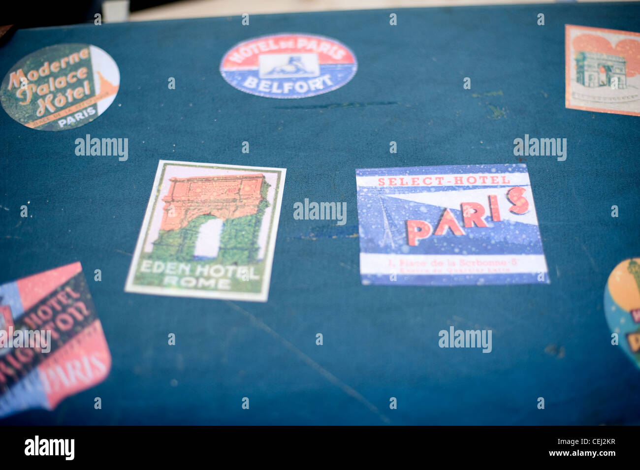 antique suitcase with stickers - Stock Image