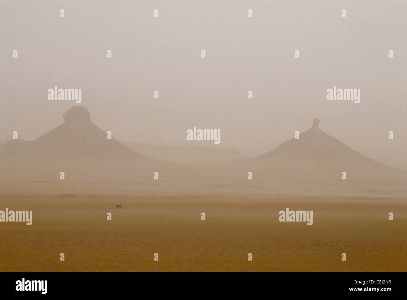 A sand-storm in the desert haze. - Stock Image