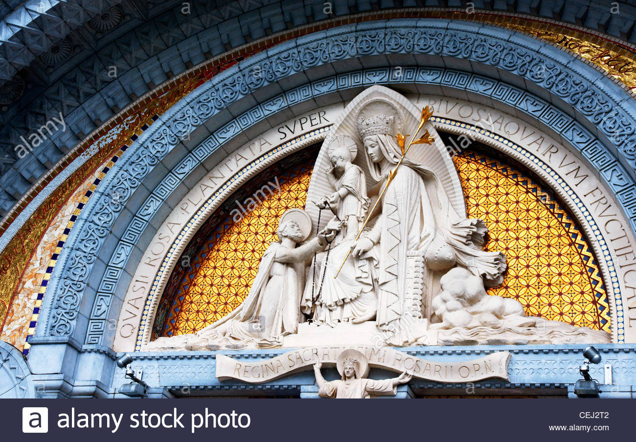 The Rosary Basilica The Sanctuaries of Lourdes The Virgin Mary gives a rosary to St.Dominic Stock Photo