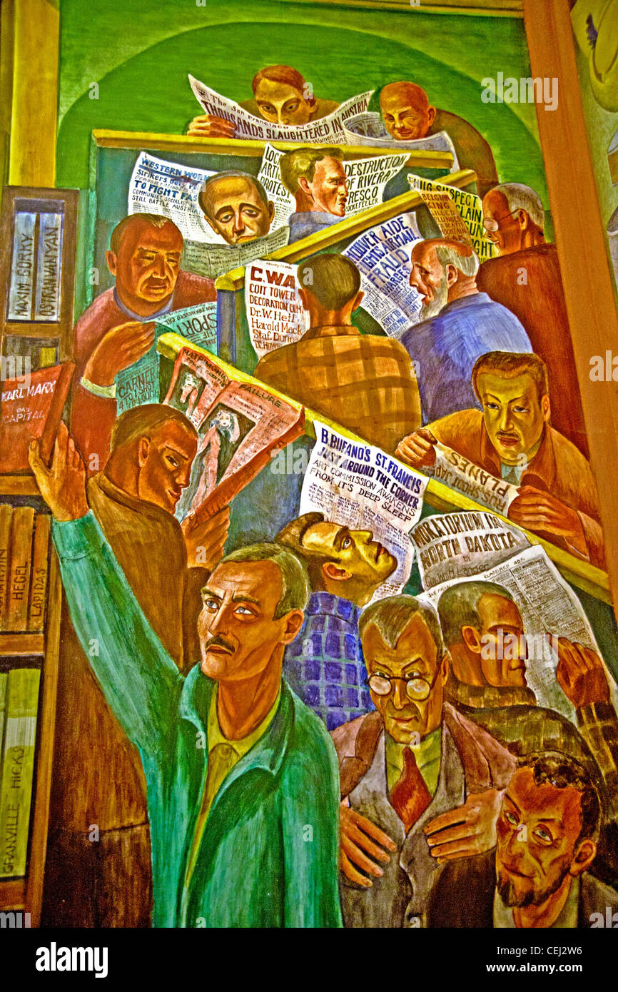Created in 1934 by artist Bernard B. Zakheim, a fresco in the Social Realism artistic style entitled 'News' - Stock Image