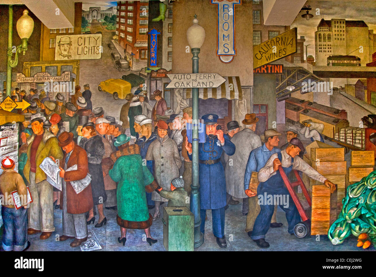 Created in 1934 by artist Victor Arnautoff, a fresco in the Social Realism artistic style entitled 'City Life' - Stock Image