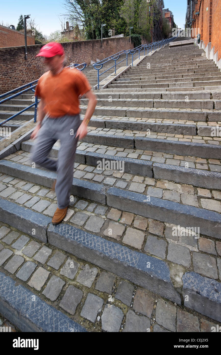 The stairs Montagne de Bueren counts 374 steps, Liège, Belgium - Stock Image