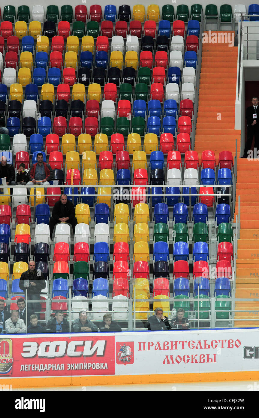 Rows of seats in ice-hockey arena in Moscow, Russia - Stock Image