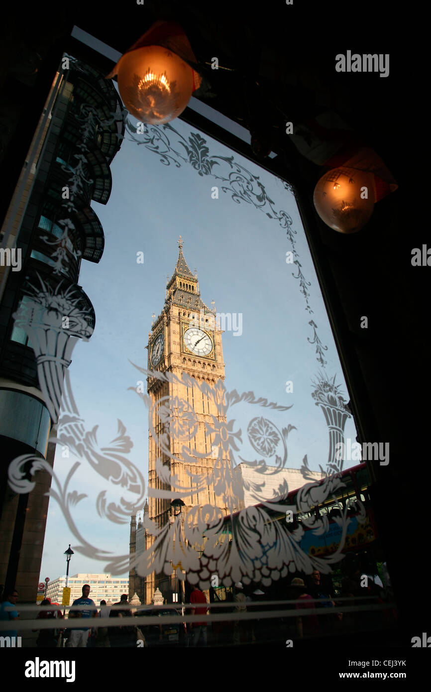 View of Big Ben through the window of a local public house, London, UK. Stock Photo