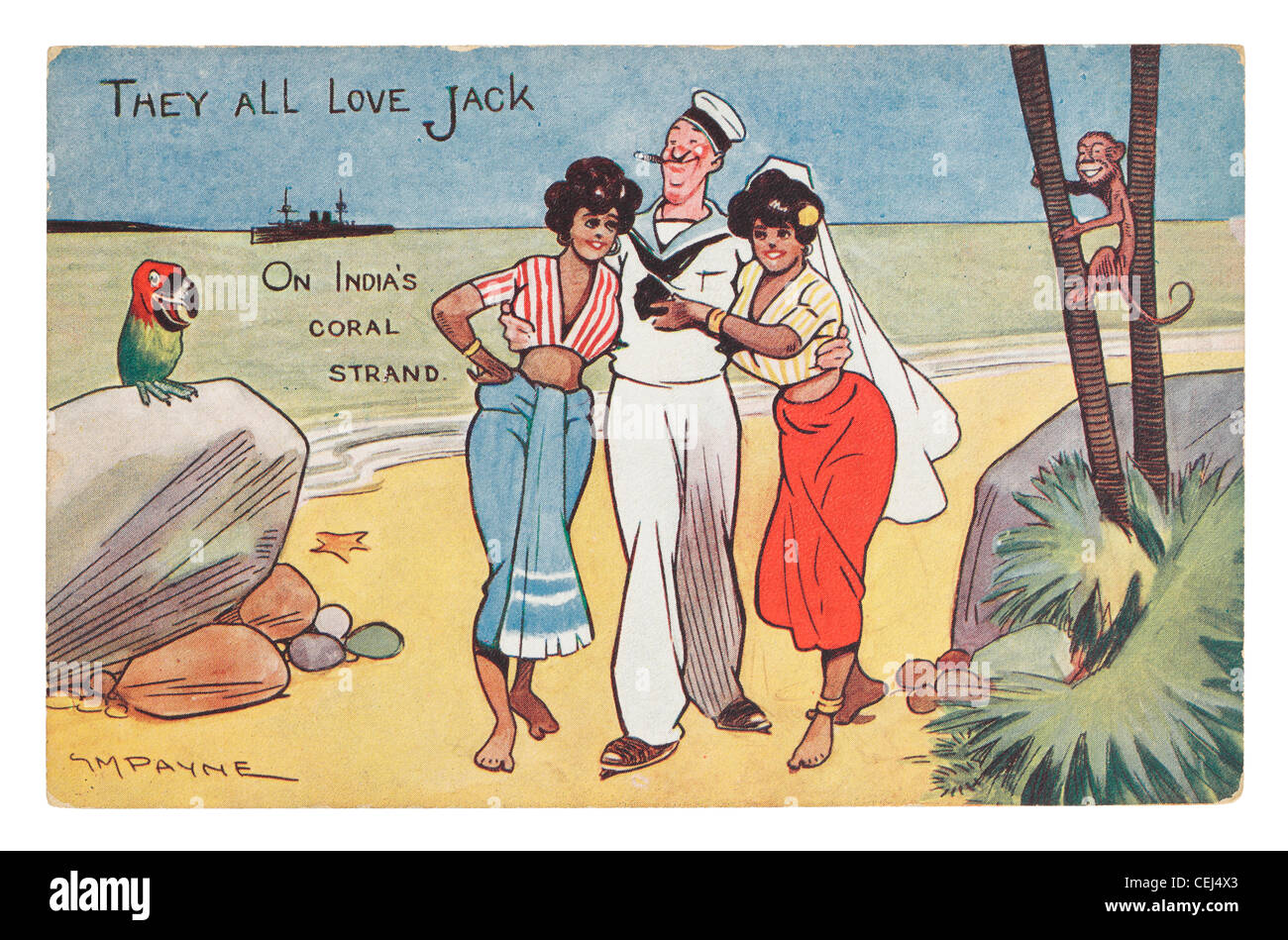 Old Postcard by G M Payne captioned 'They All Love Jack' published by Gale & Polden. - Stock Image