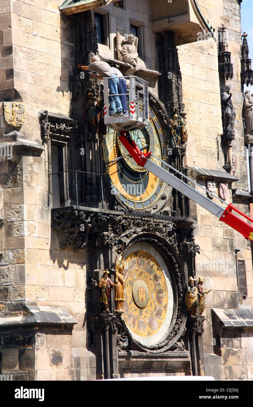 servicing the Orloj clock in prague, czech. medieval clock - Stock Image