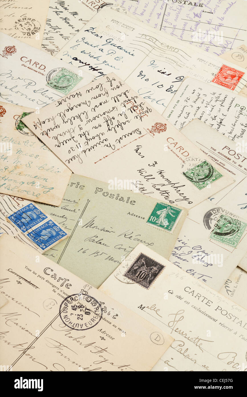Old Postcards - British and French - Stock Image