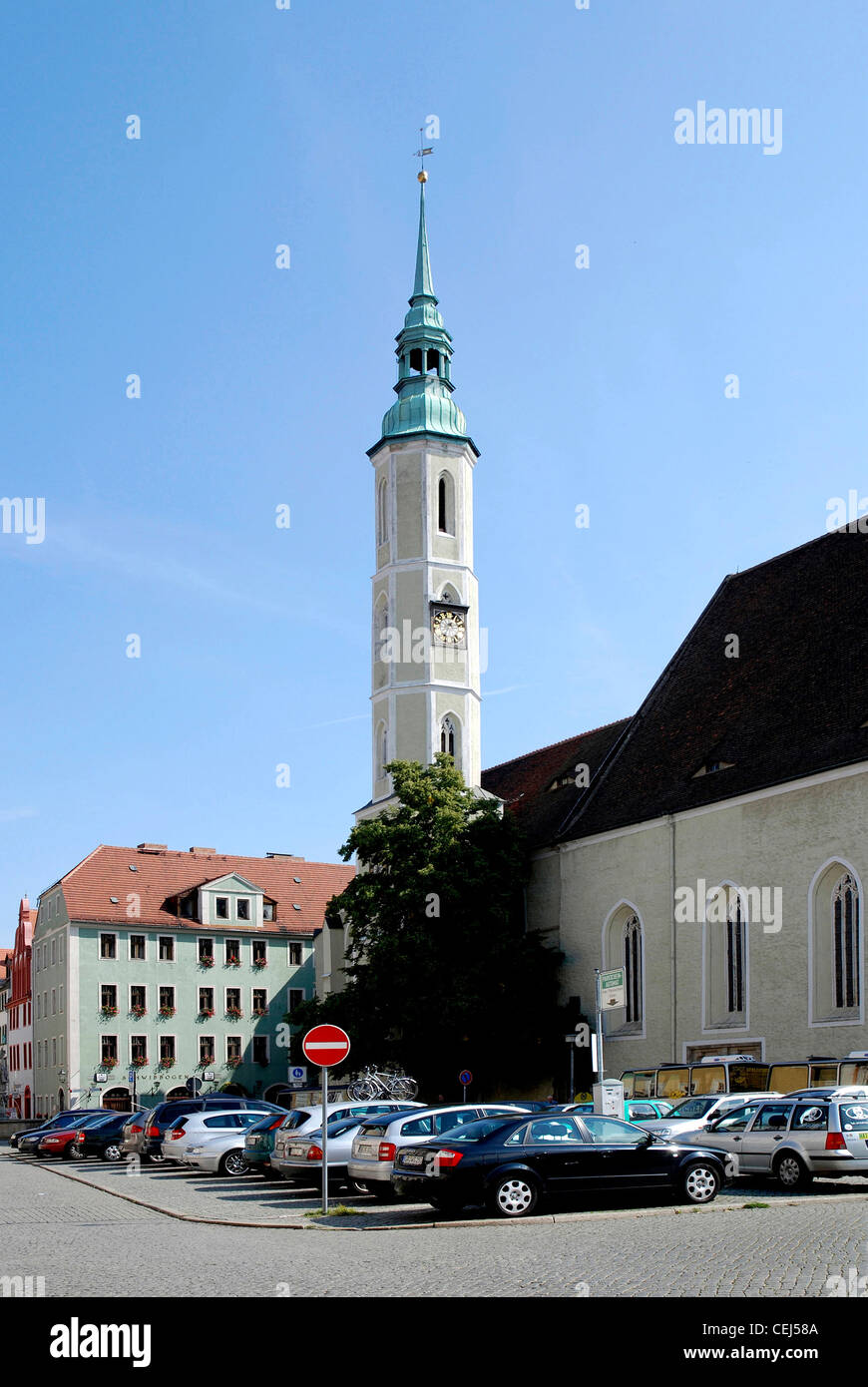 Square Obermarkt and the towers of church Saint Trinity of Goerlitz. - Stock Image