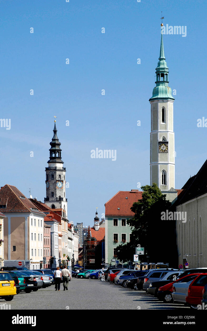 Square Obermarkt and the towers of church Saint Trinity and the city hall of Goerlitz. - Stock Image
