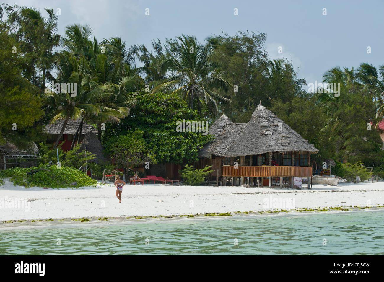 Restaurant on the beach in Bwejuu Zanzibar Tanzania Stock Photo