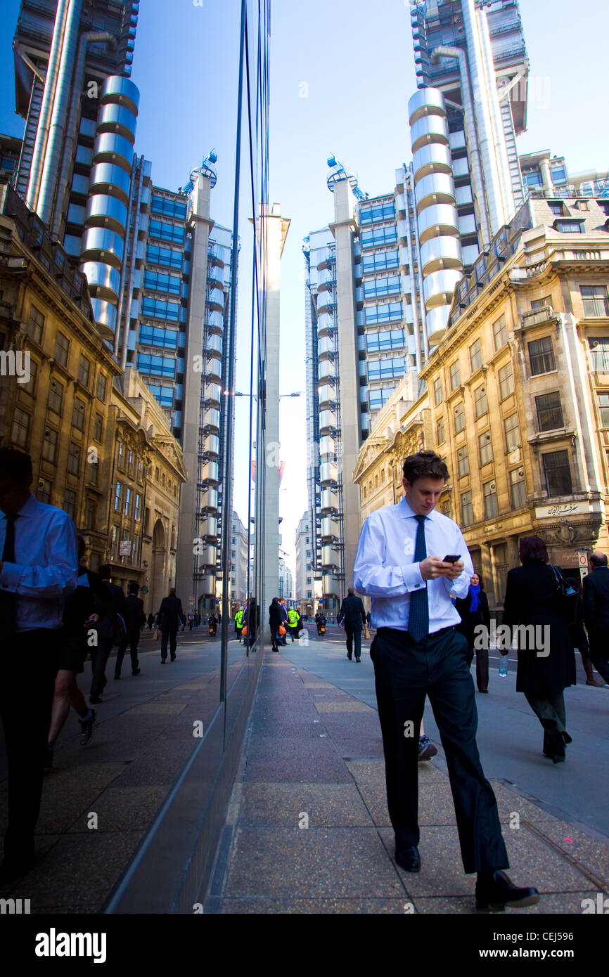 Reflection of Lloyd's building on Leadenhall Street building City of London. - Stock Image