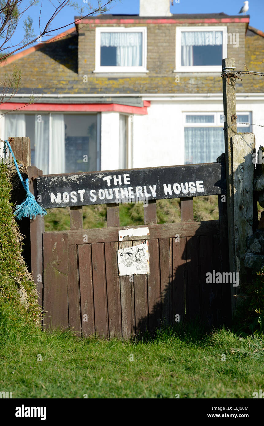 The most southerly house in England at Lizard point in Cornwall - Stock Image