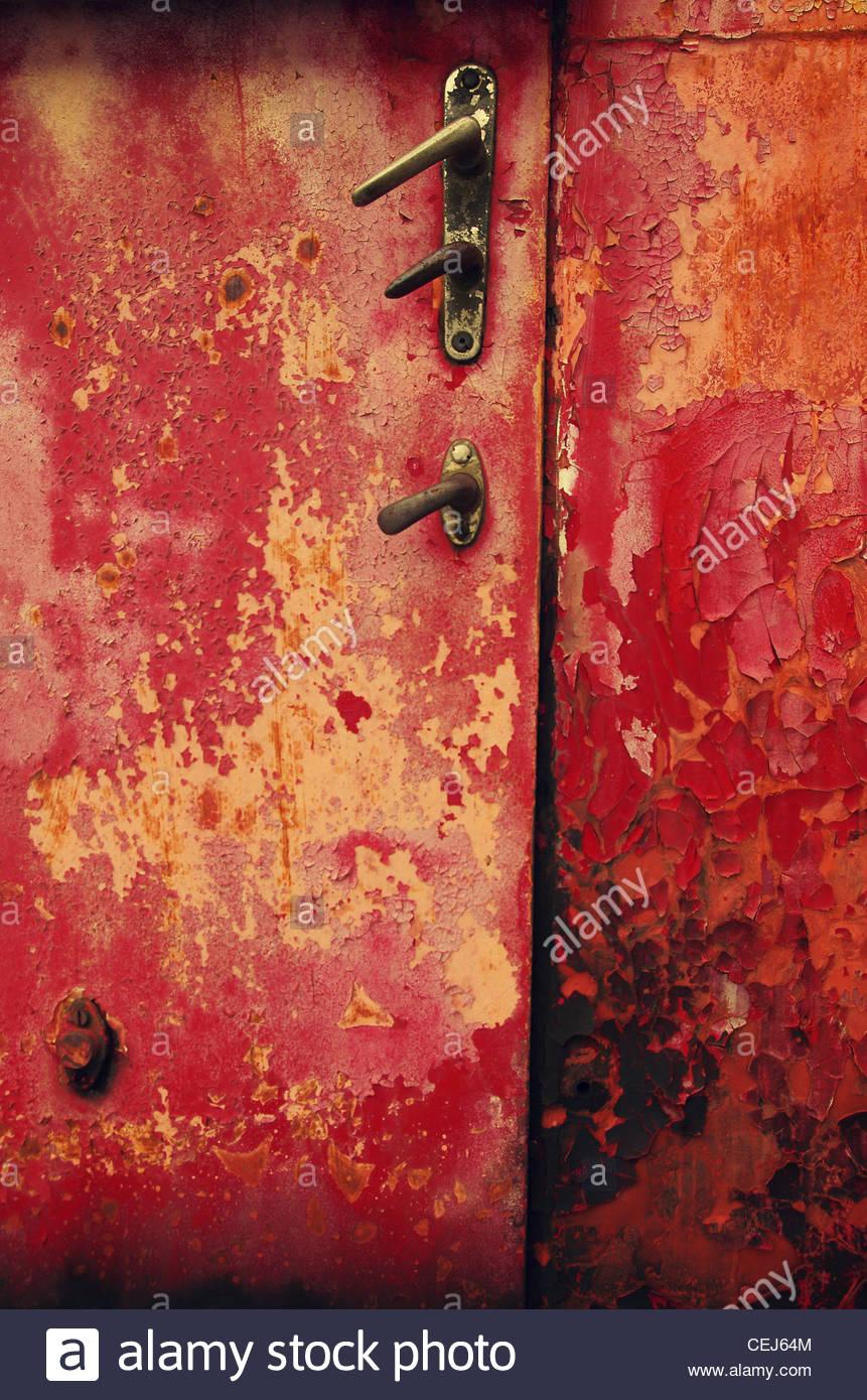 Detail of Red Train Door - Stock Image