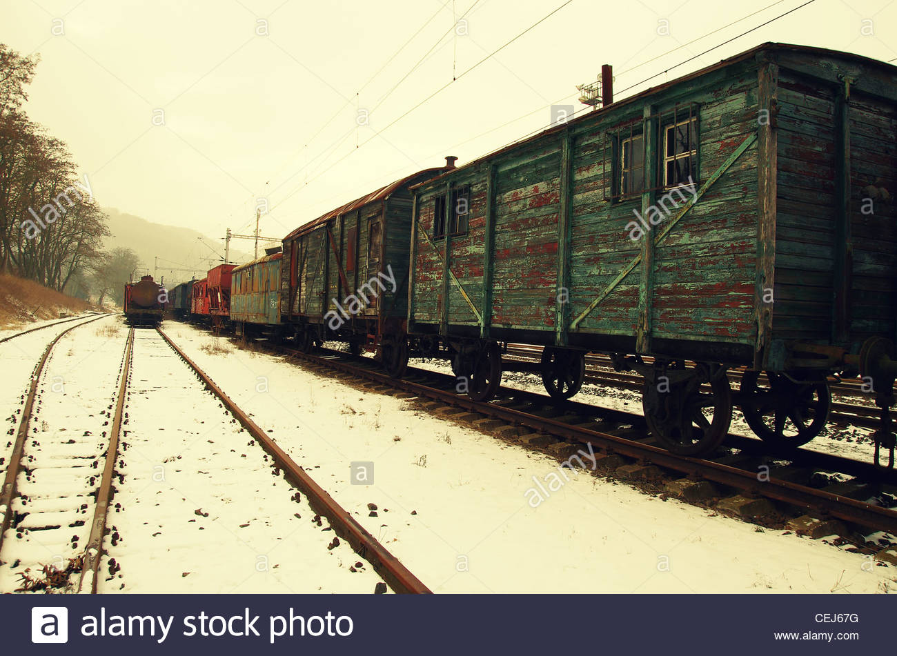 Vintage Wooden Train - Stock Image