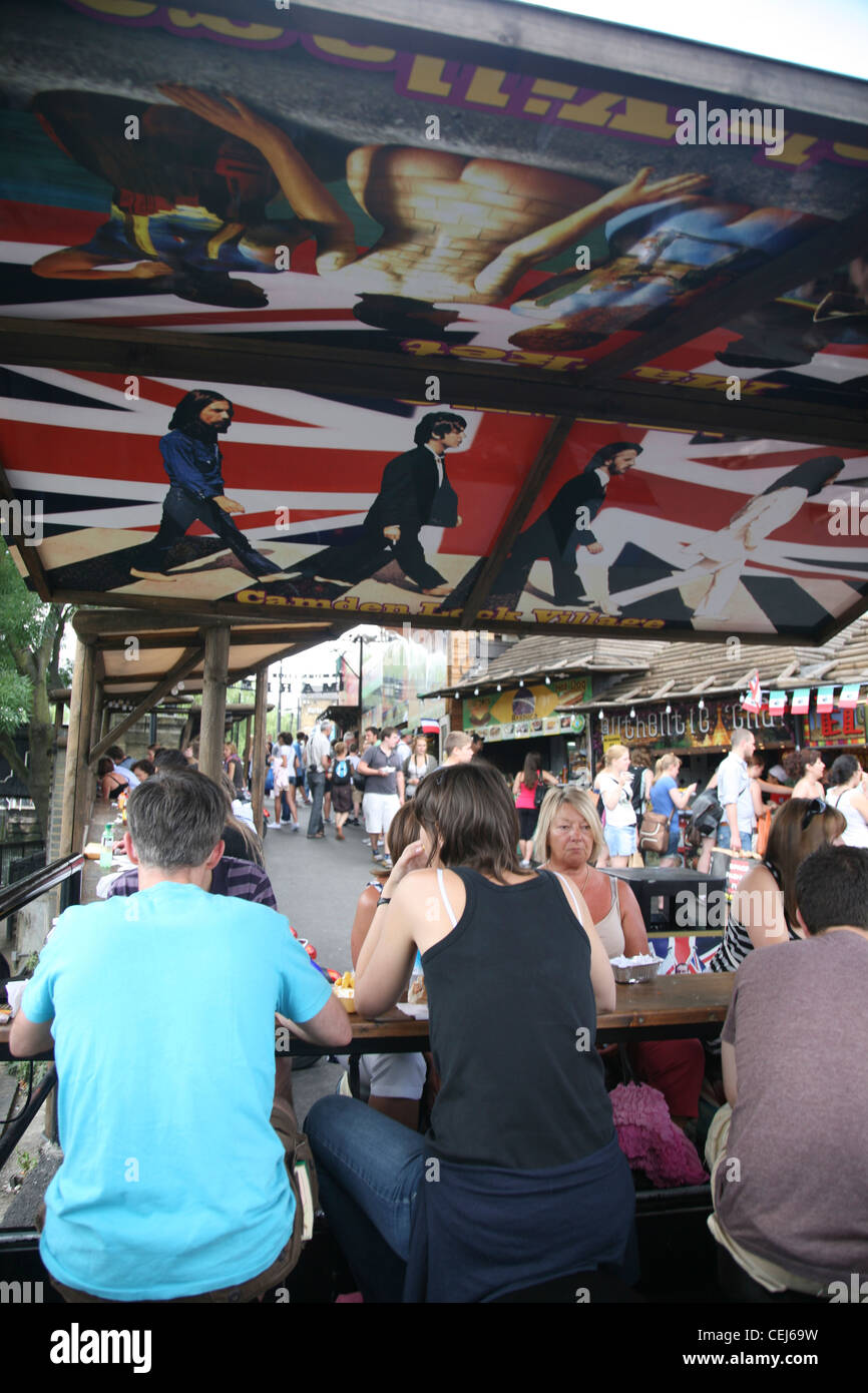 Union flag and Beetles detail at eating place, Camden market, London, UK. - Stock Image