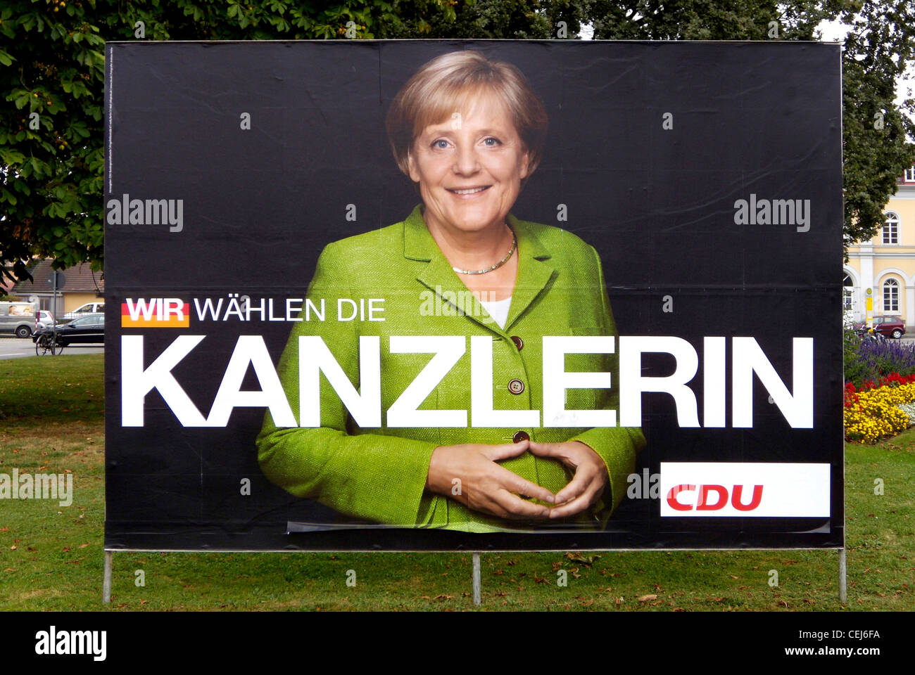 Election poster of the German party CDU for Angela Merkel to the Bundestag elections of 2009. - Stock Image
