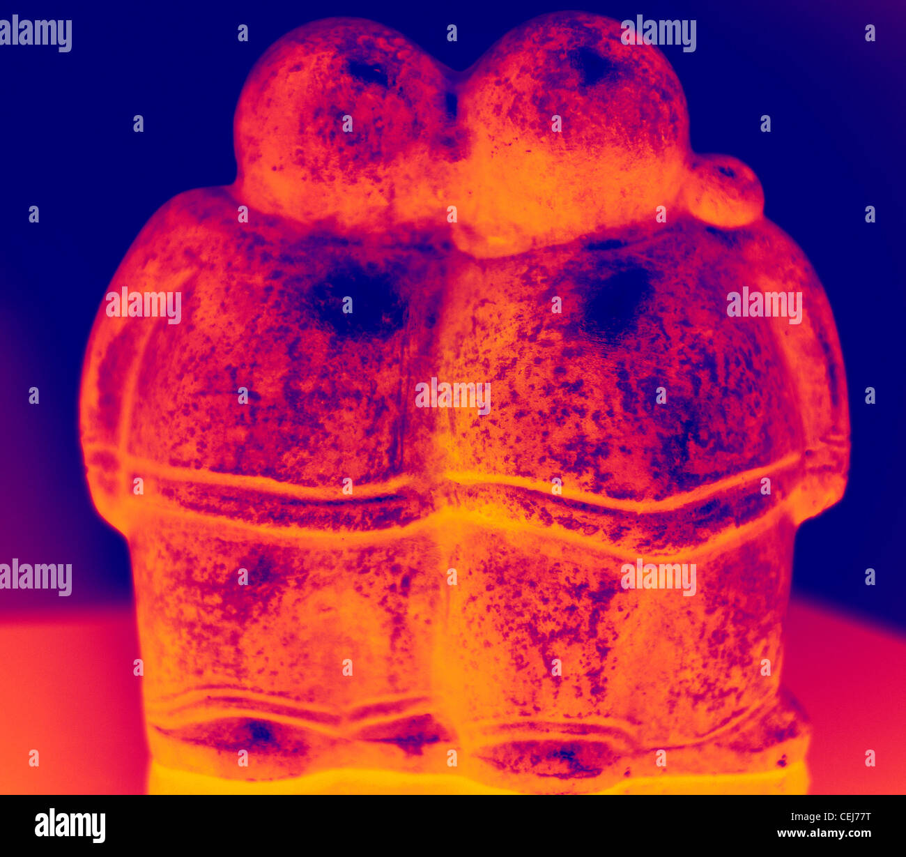 Infra red thermal picture of a statue - Stock Image