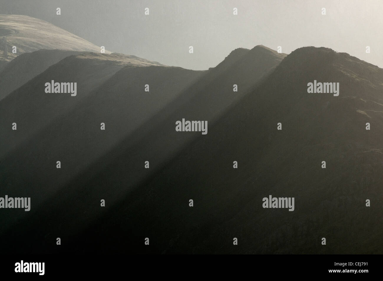 The Snowdon Range above Llanberis Stock Photo