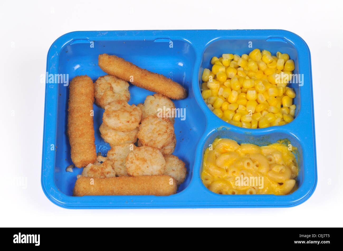 Kid Cuisine Deep Sea Adventure fish stick TV Dinner w/ corn, mac & cheese & hash browns in blue plastic - Stock Image