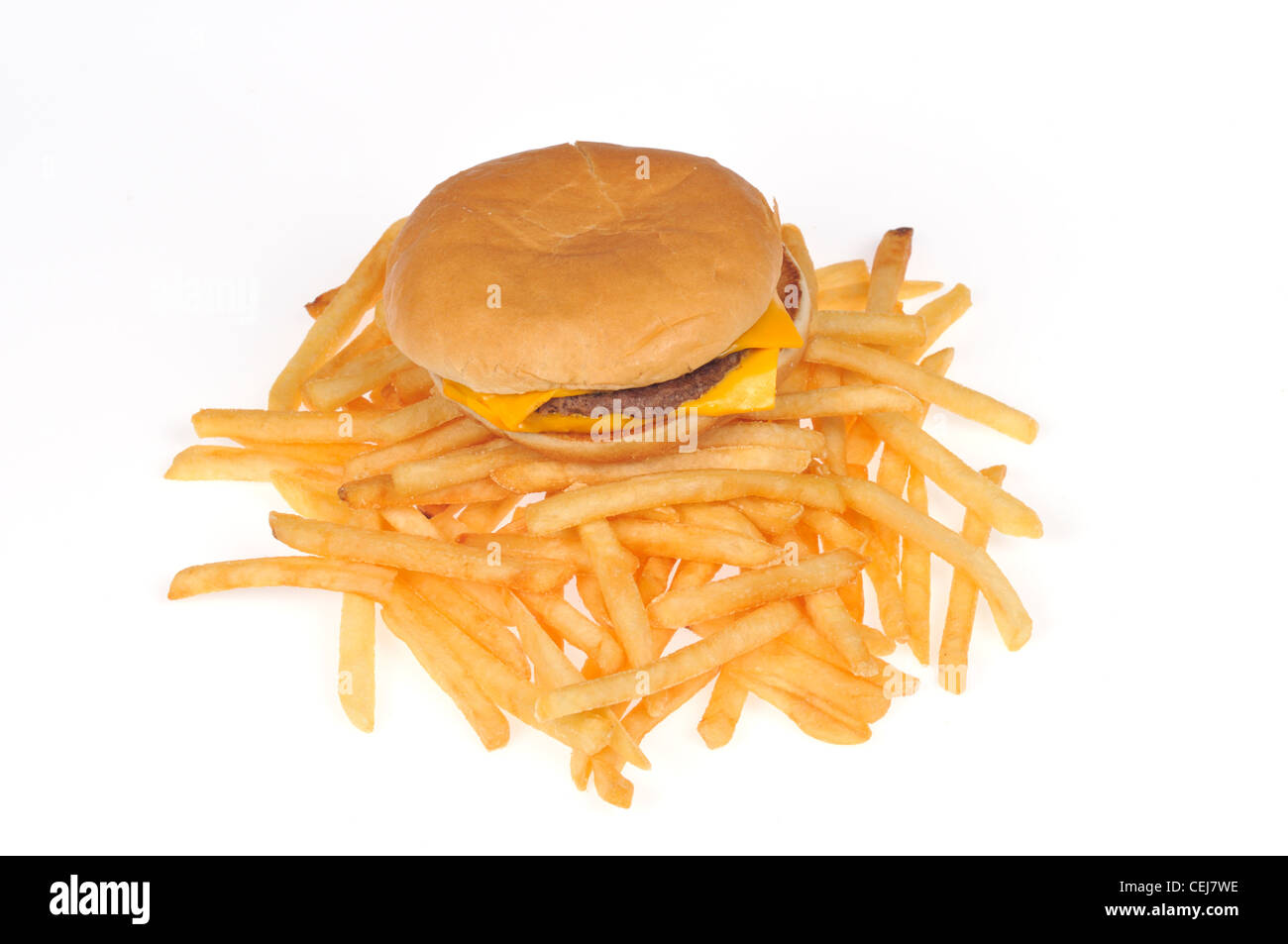 McDonald's double cheeseburger and french fries or chips on white background cutout USA - Stock Image