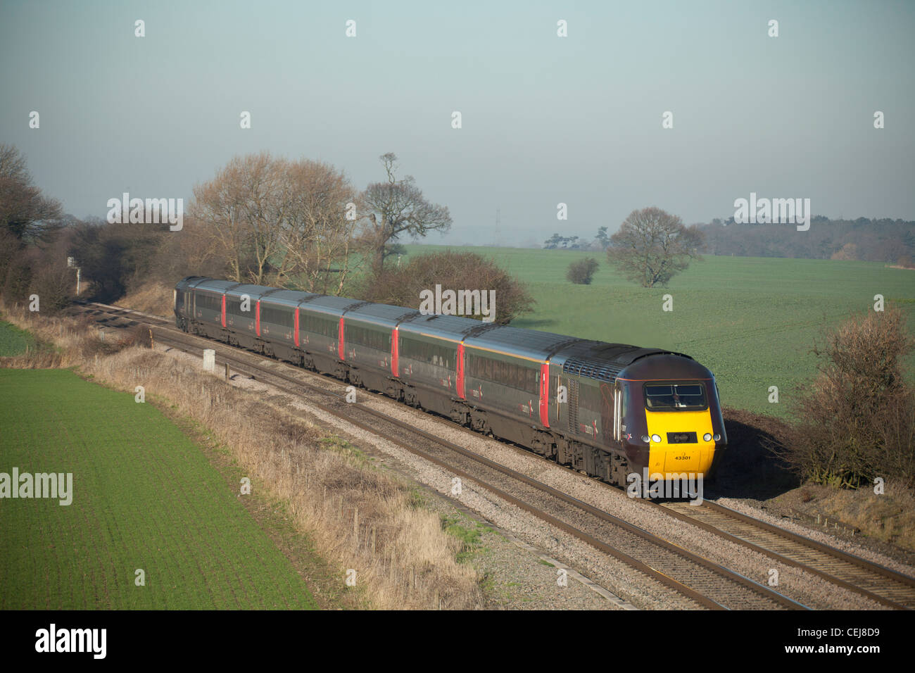 Cross Country Trains High speed train, Portway, Tamworth, Staffordshire. - Stock Image