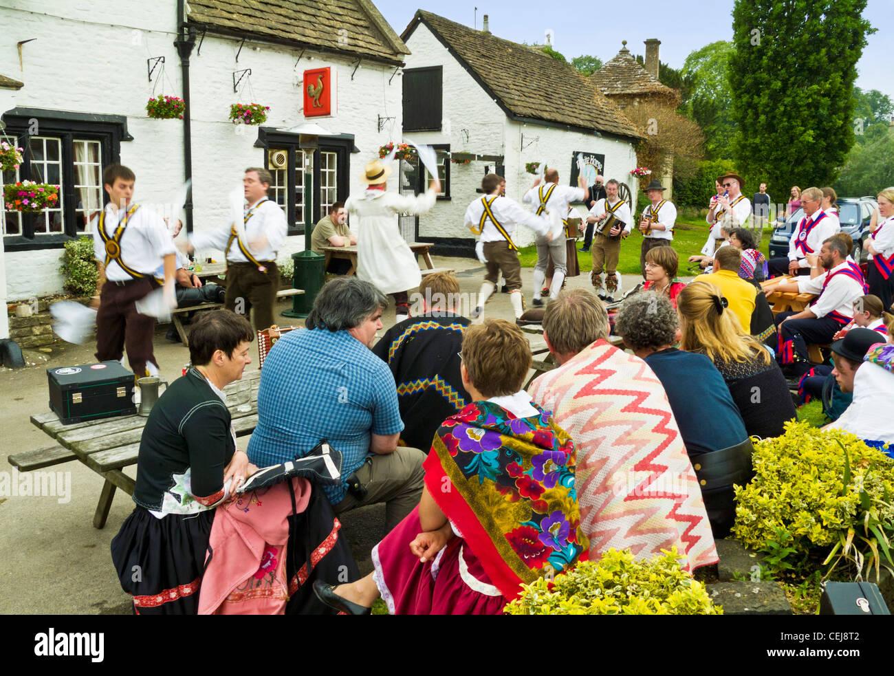 Morris Dancing At A Traditional English Country Pub England GB UK EU Europe