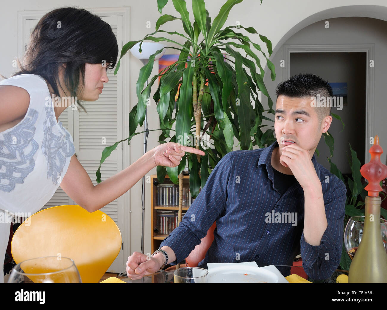 A couple in a conflict situation - Stock Image