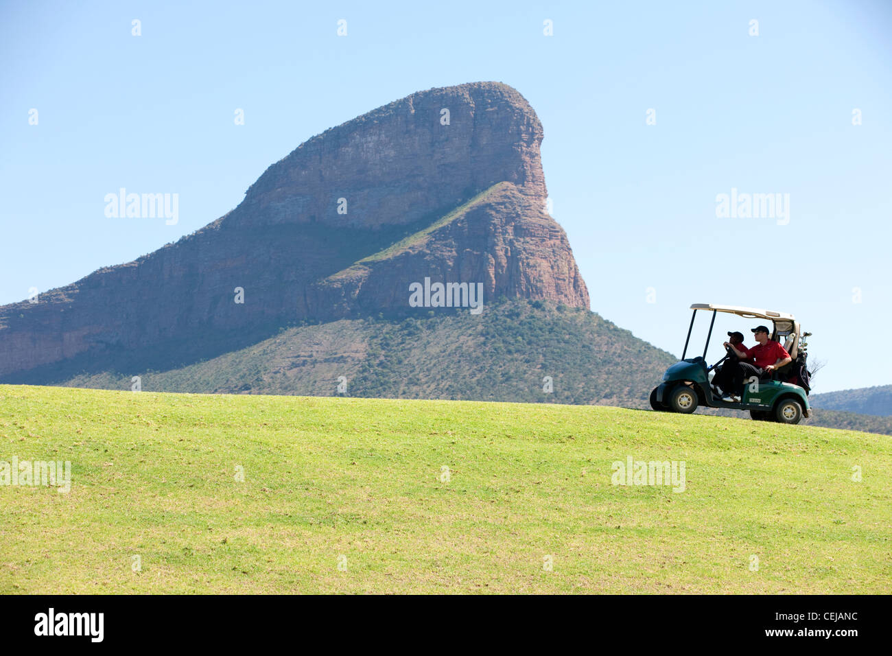 Golf cart on course,Legends Golf Estate,Limpopo Province - Stock Image