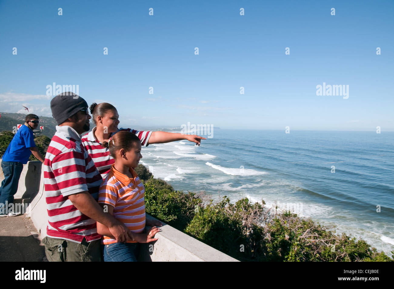 Tourists admiring view at Wilderness lookout point,Western Cape Province - Stock Image