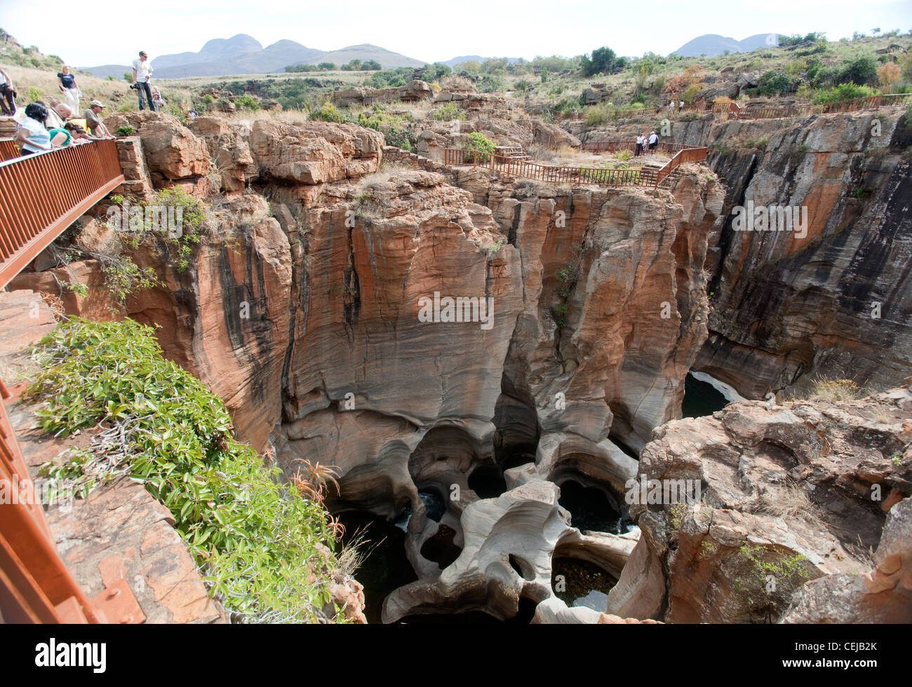 Tourist at observation point overlooking Bourkes Luck Potholes,Mpumalanga - Stock Image