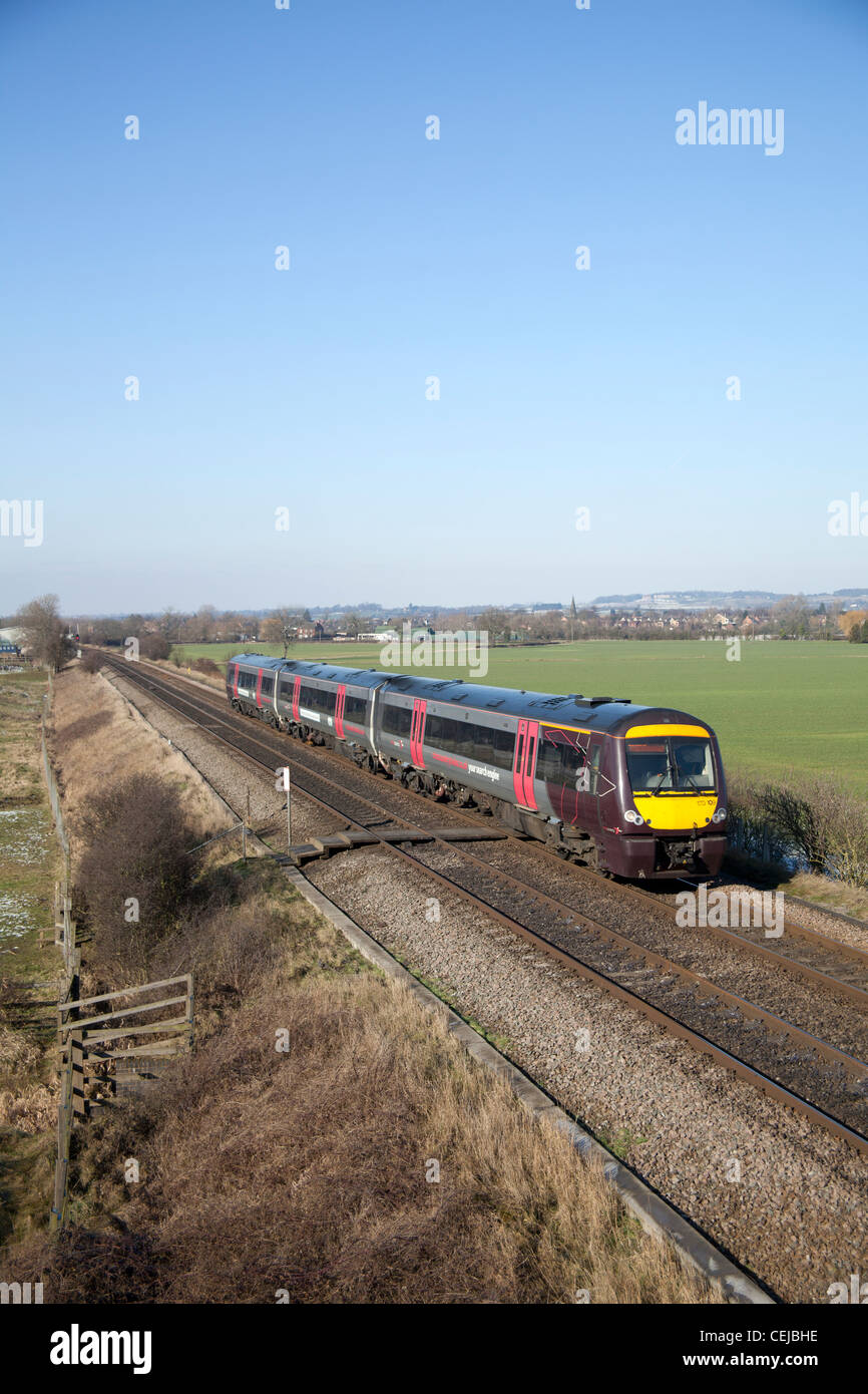 Arriva Cross Country class 170 DMU passenger train passing Sawley, Nottinghamshire - Stock Image