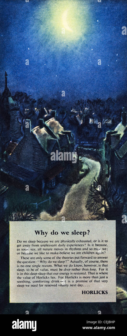 Original advert in 1940s period magazine advertising HORLICKS night time drink - Stock Image