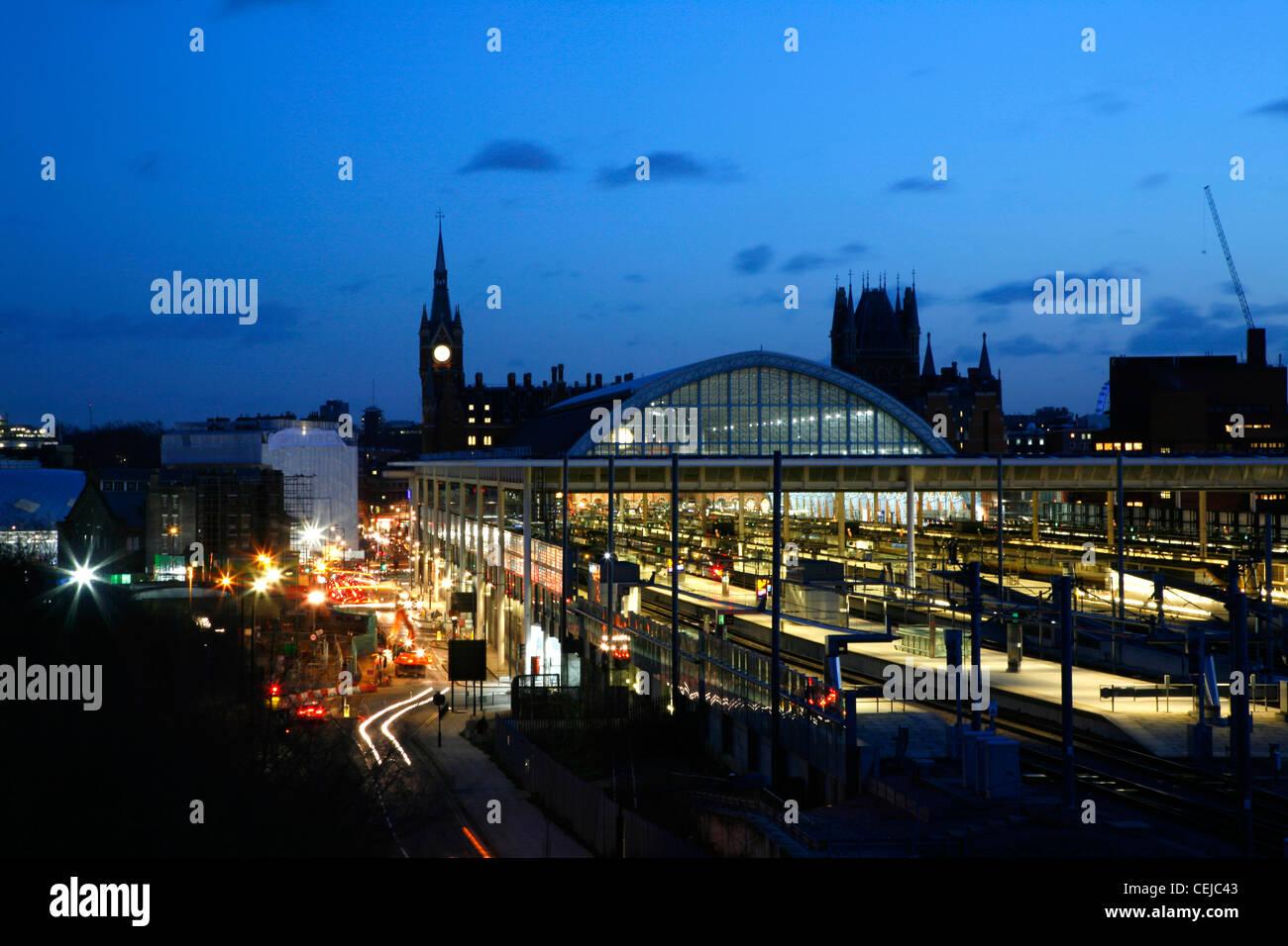 Skyline night view of St Pancras Station, St Pancras, London, UK - Stock Image