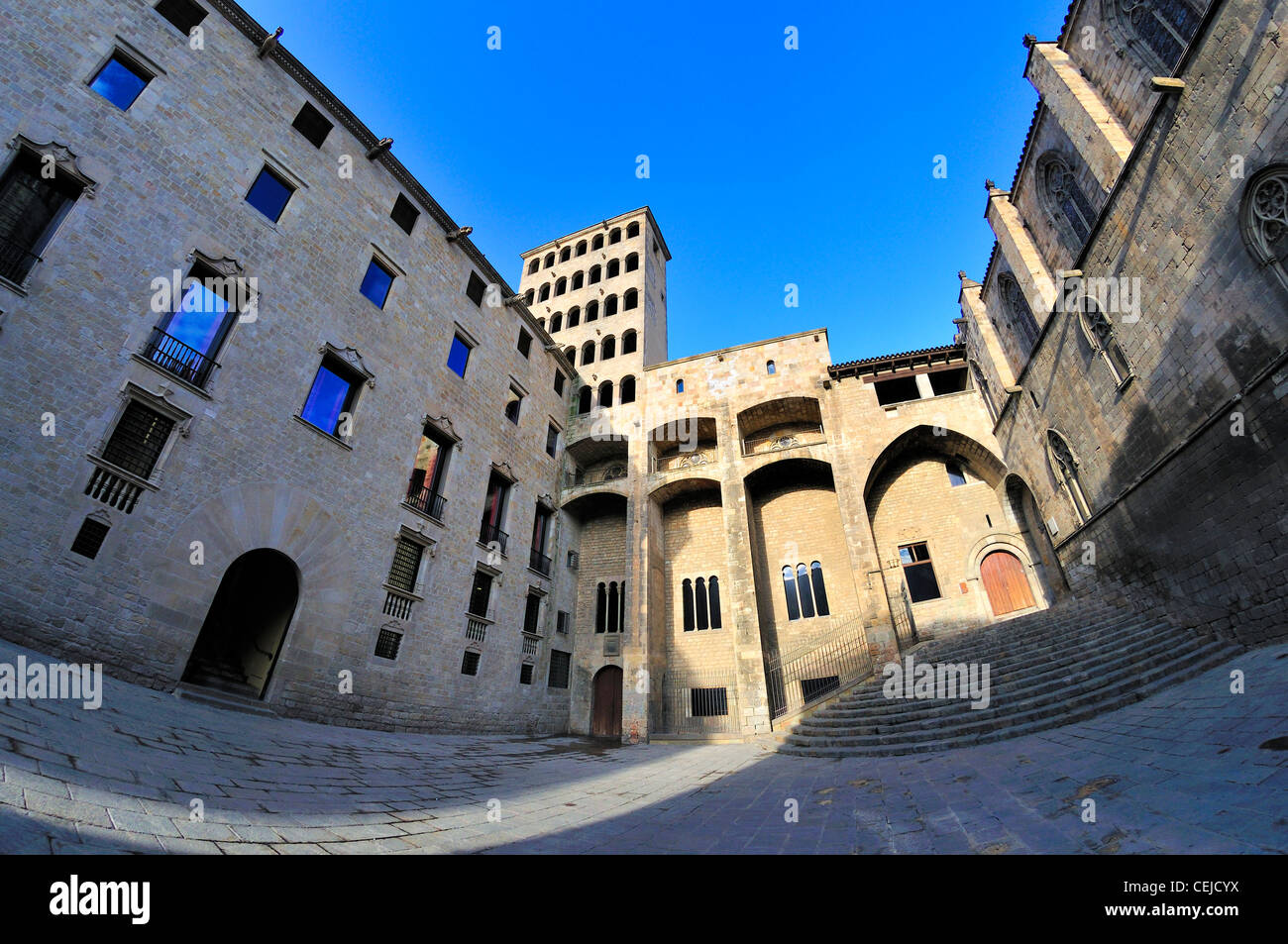 Barcelona, Spain. Placa del Rei in Barri Gotic. Fish-eye view - Stock Image