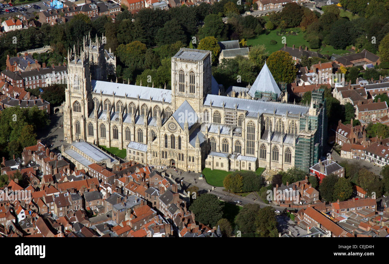 Aerial image of York Minster cathedral - Stock Image