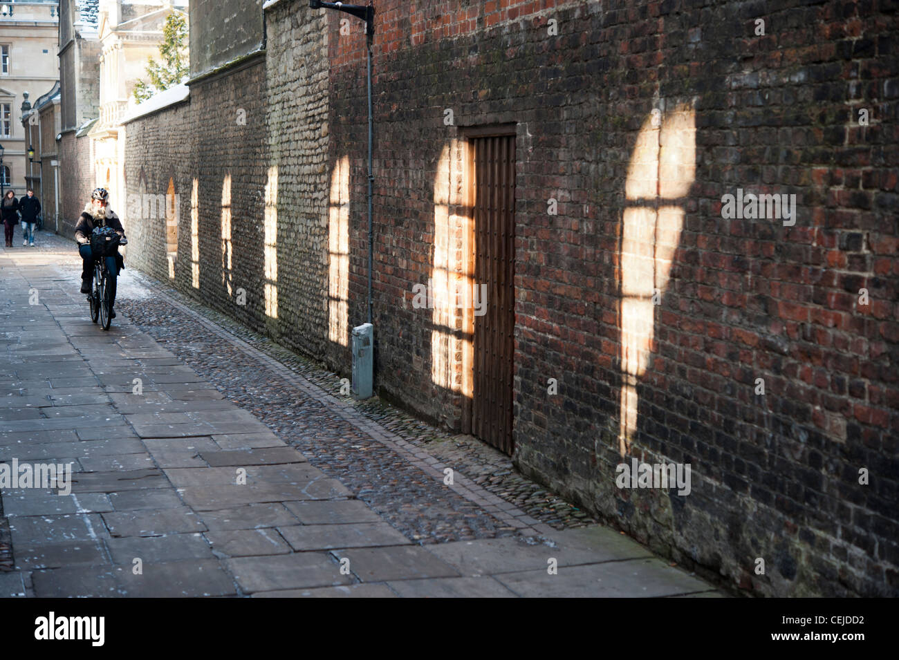 A cyclist riding through colleges in Cambridge a long a line of light shining through the Senate House windows - Stock Image