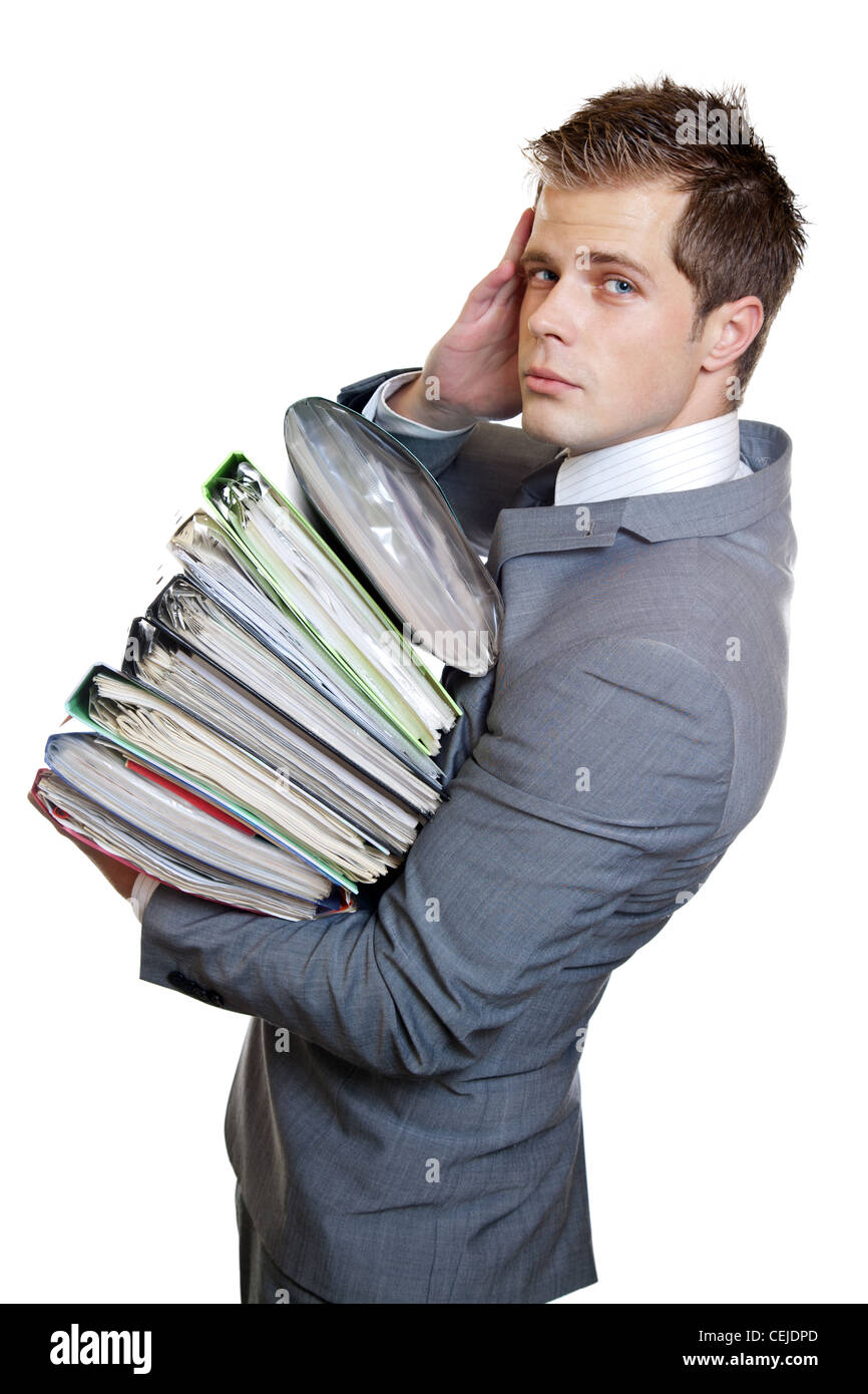 Business man with heavy workload - Stock Image