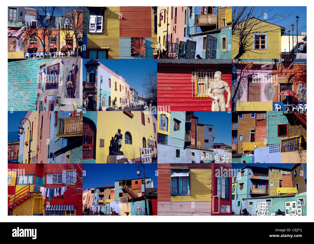 Collage of the colourful architecture of the La Boca region in Buenos Aires, Argentina, South America - Stock Image