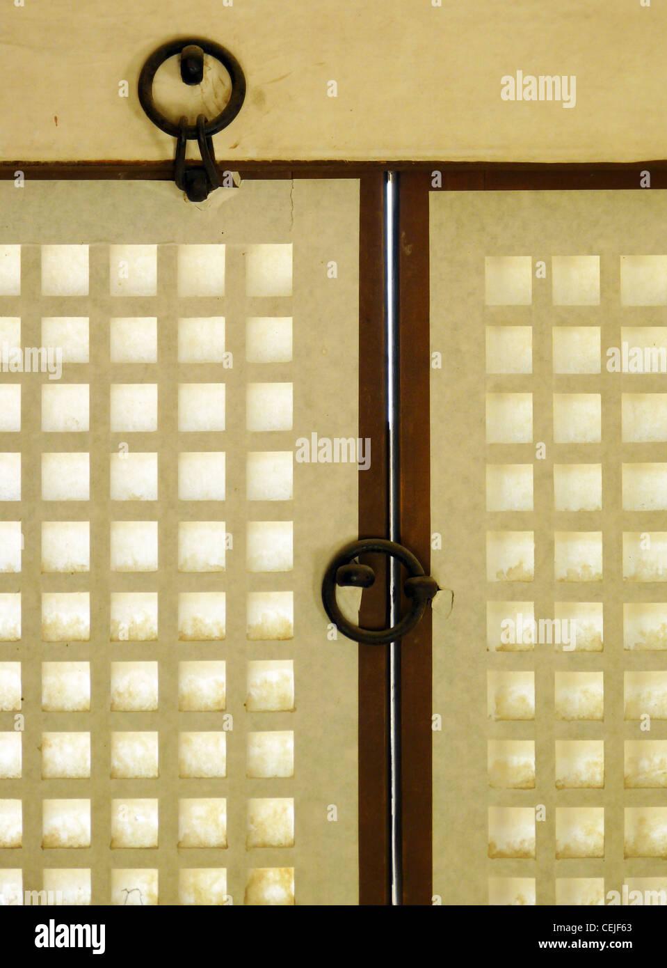 Window detail  in a traditional court house in Namsangol Hankok Village in Seoul, Korea - Stock Image